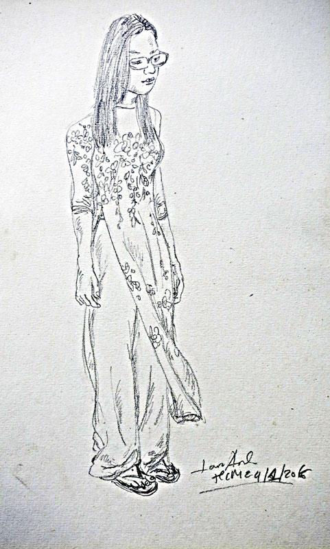 Ký họa chì trên giấy 23 x 38cm